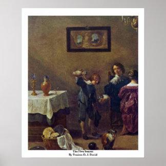 The Five Senses By Teniers D. J. David Poster