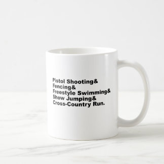 The Five Stages of a Pentathlon | Shooting Fencing Classic White Coffee Mug