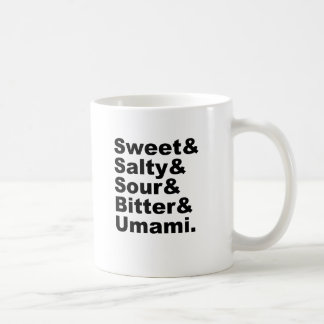 The Five Tastes | Sweet Salty Sour Bitter & Umami Classic White Coffee Mug