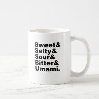 The Five Tastes | Sweet Salty Sour Bitter & Umami Coffee Mug