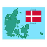 The flag and Map of Denmark Postcard