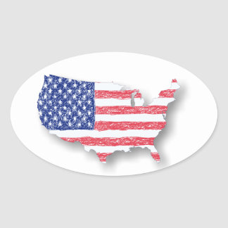The Flag and the Map Oval Stickers