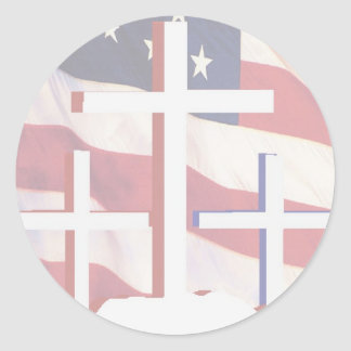 The Flag & Cross Classic Round Sticker