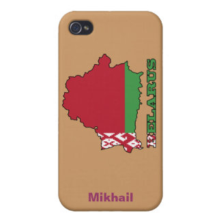The Flag in Map of Belarus iPhone 4/4S Cases