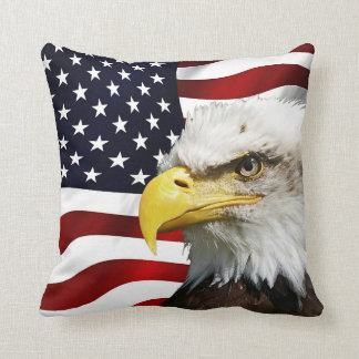 The flag of america with eagle throw pillow