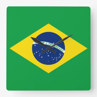 The Flag of Brazil Square Wall Clock