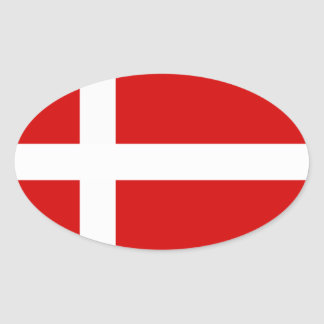 The Flag of Denmark Oval Sticker