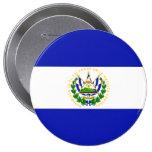 The Flag of El Salvador. 4 Inch Round Button