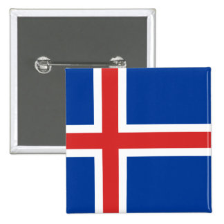 The Flag of Iceland 2 Inch Square Button