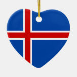 The Flag of Iceland Double-Sided Heart Ceramic Christmas Ornament