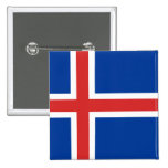 The Flag of Iceland Pinback Button