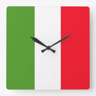 The Flag Of Italy Square Wall Clock