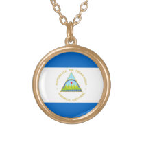 The Flag of Nicaragua - Latin America Gold Finish Necklace
