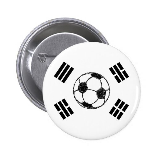 The Flag of South Korea | Soccer Sketch Pinback Button