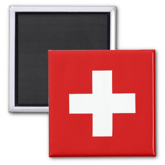 The Flag of Switzerland 2 Inch Square Magnet