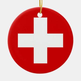 The Flag of Switzerland Ceramic Ornament