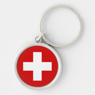 The Flag of Switzerland Silver-Colored Round Keychain