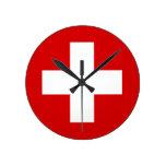 The Flag of Switzerland Round Clock