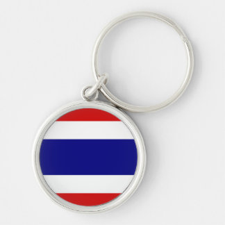 The Flag of Thailand Silver-Colored Round Keychain