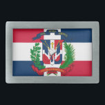 "The flag of the Dominican Republic Belt Buckle<br><div class=""desc"">The flag of the Dominican Republic was designed by founding father Juan Pablo Duarte, and adopted in 1844. It is centered with a white cross that extends to the edges and divides the flag into four rectangles. The color blue is for liberty, red for the blood of heroes, and white...</div>"