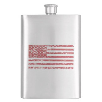 The Flag of the USA with Rusty Effect I Flask