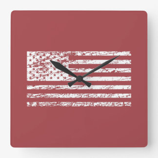 The Flag of the USA with Rusty Effect I Square Wall Clock