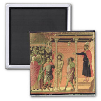 The Flagellation, from the Maesta altarpiece 2 Inch Square Magnet