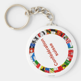 The Flags of the Cantons of Switzerland, French Basic Round Button Keychain
