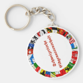 The Flags of the Cantons of Switzerland, German Basic Round Button Keychain