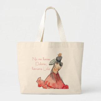 The flamenco Lola. Large Tote Bag
