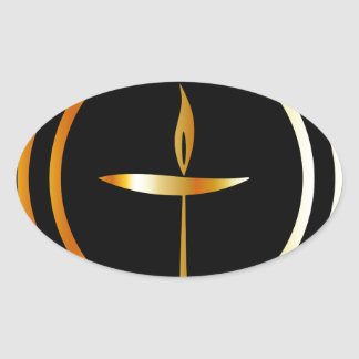 The Flaming Chalice Oval Sticker