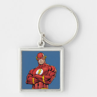 The Flash Arms Crossed Silver-Colored Square Keychain