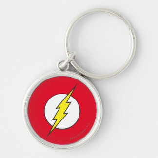The Flash Lightning Bolt Silver-Colored Round Keychain