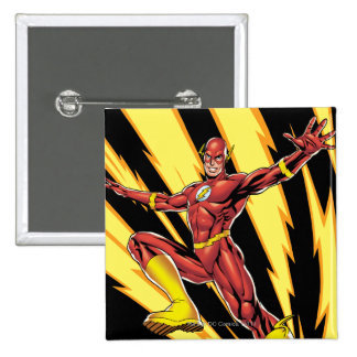 The Flash Lightning Bolts 2 Inch Square Button