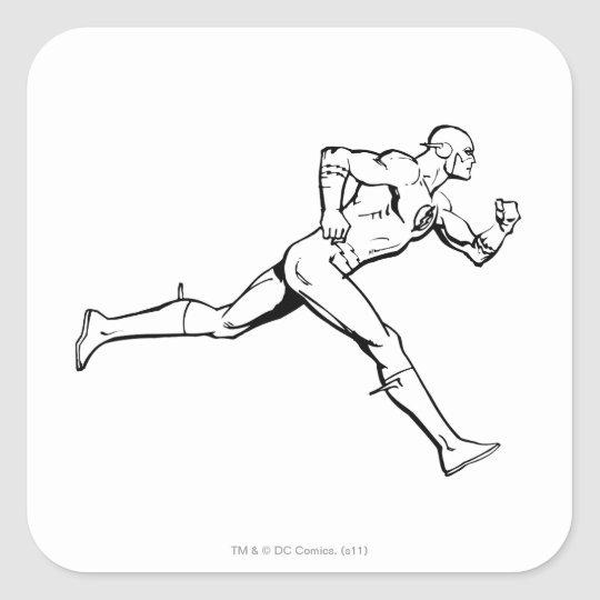 The Flash Running Outline Square Sticker