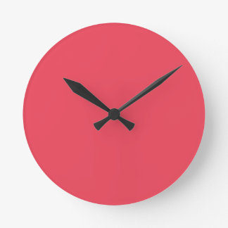 THE FLAVOR OF FRUIT: WATERMELON PINK (solid color) Round Wallclocks