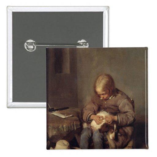 The Flea-Catcher  c.1655 Pinback Button