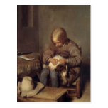 The Flea-Catcher  c.1655 Postcard