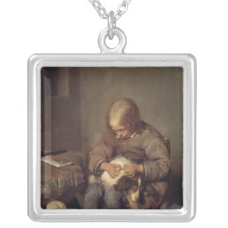 The Flea-Catcher  c.1655 Silver Plated Necklace