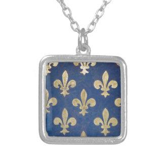 The fleur-de-lis or fleur-de-lys square pendant necklace