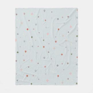 The Fleur-de-Lis - Vintage Pastel Colors Fleece Blanket