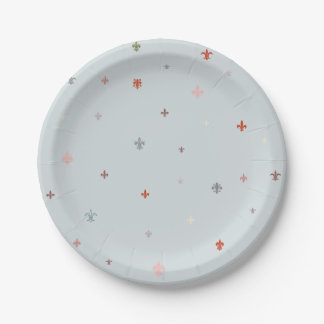 The Fleur-de-Lis - Vintage Pastel Colors Paper Plate
