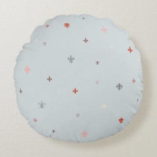 The Fleur-de-Lis - Vintage Pastel Colors Round Pillow