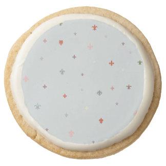 The Fleur-de-Lis - Vintage Pastel Colors Round Shortbread Cookie