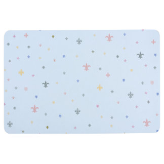 The Fleur-de-Lis - Vintage Pastel Colours Floor Mat