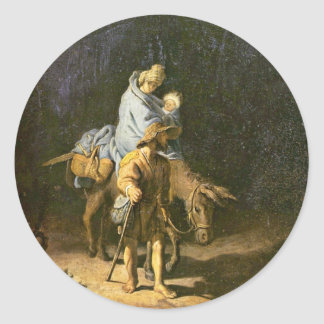 The Flight Into Egypt. By Rembrandt (Best Quality) Classic Round Sticker
