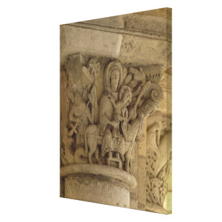 The Flight into Egypt, column capital relief from Canvas Print