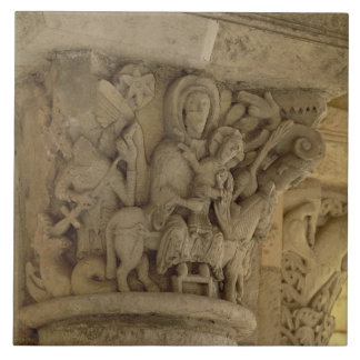 The Flight into Egypt, column capital relief from Tile