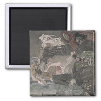 The Flight of Faust and Mephistopheles, 1896 2 Inch Square Magnet