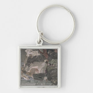 The Flight of Faust and Mephistopheles, 1896 Silver-Colored Square Keychain
